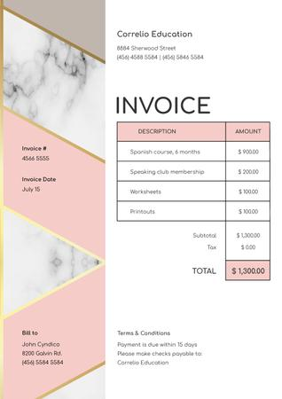 Language Courses services on White Invoiceデザインテンプレート