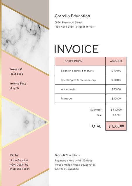 Plantilla de diseño de Language Courses services on White Invoice