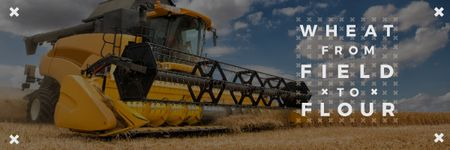 Ontwerpsjabloon van Email header van Agricultural Machinery Industry with Harvester Working in Field