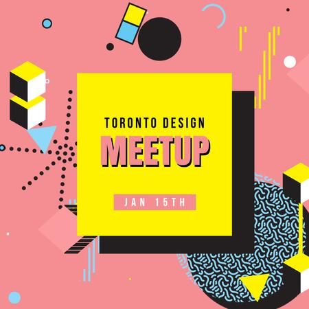 Design Meetup Announcement with Simple icons pattern Animated Post Modelo de Design