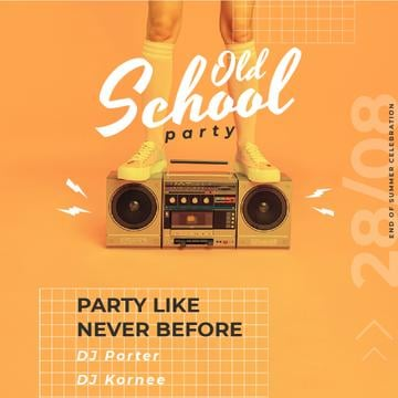 Old School Party Invitation Man Standing on Boombox | Square Video Template