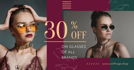 Template di design Glasses Offer Women Wearing Sunglasses Facebook AD