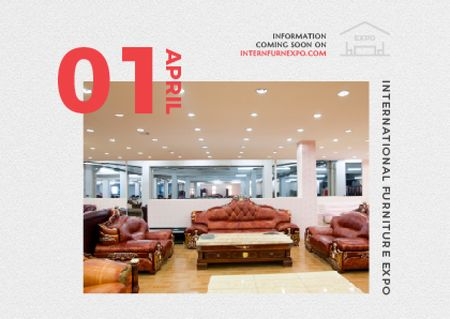 Furniture Expo invitation with modern Interior Postcard Tasarım Şablonu