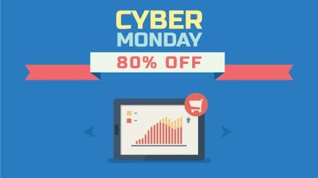 Cyber Monday Sale Digital Devices in Blue Full HD videoデザインテンプレート