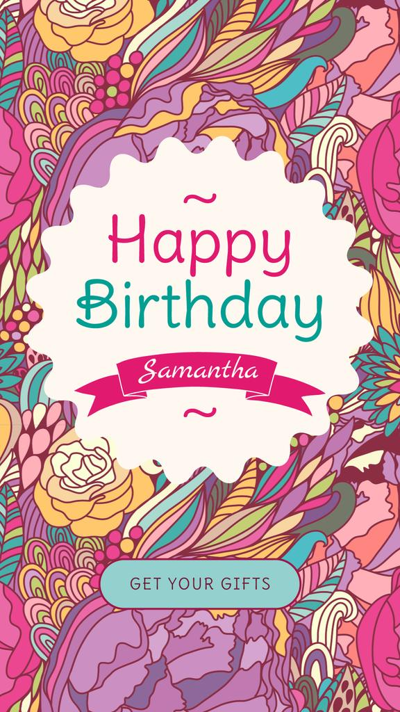 Birthday Greeting in Frame with bright flowers — Modelo de projeto