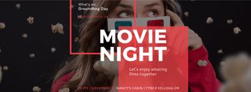 Movie Night Event Woman in 3d Glasses | Facebook Cover Template