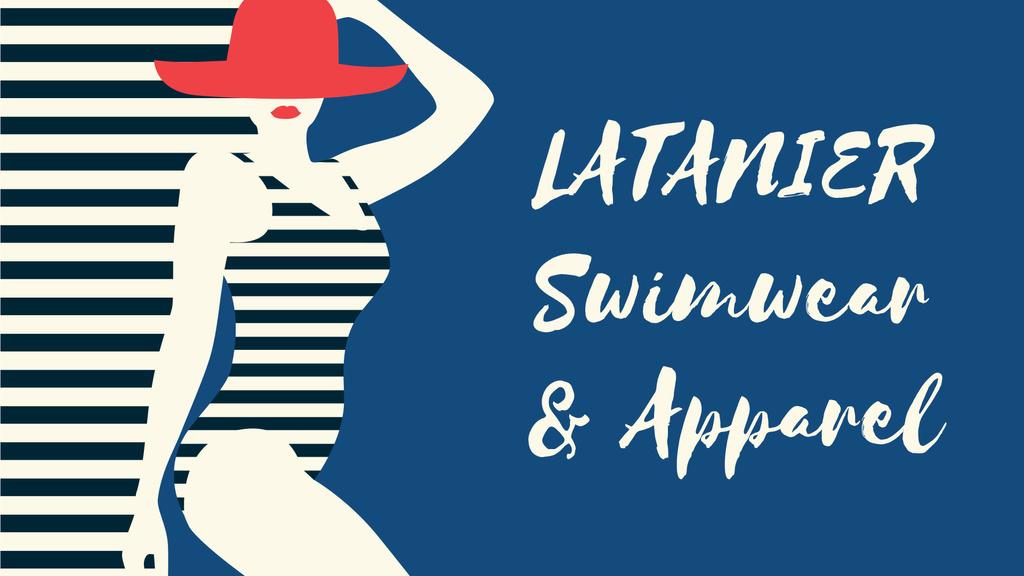 Swimwear Offer Woman in Striped Swimsuit — Modelo de projeto