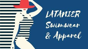 Swimwear Offer Woman in Striped Swimsuit | Full Hd Video Template