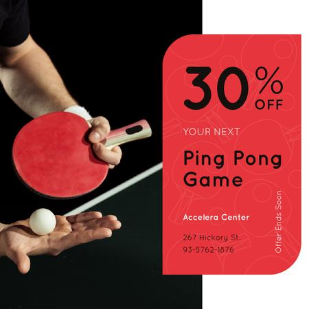 Ping Pong game Offer Player with Racket Instagram Modelo de Design