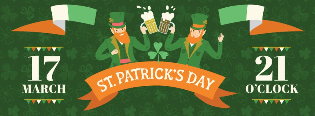 St. Patrick's Day Greeting Men Toasting Beer | Facebook Cover Template — Создать дизайн