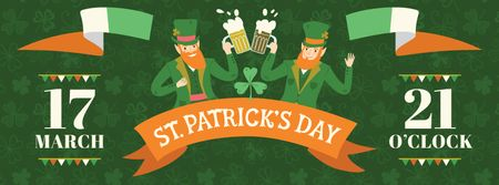 St. Patrick's Day Greeting Men clinking glasses of Beer Facebook cover Design Template
