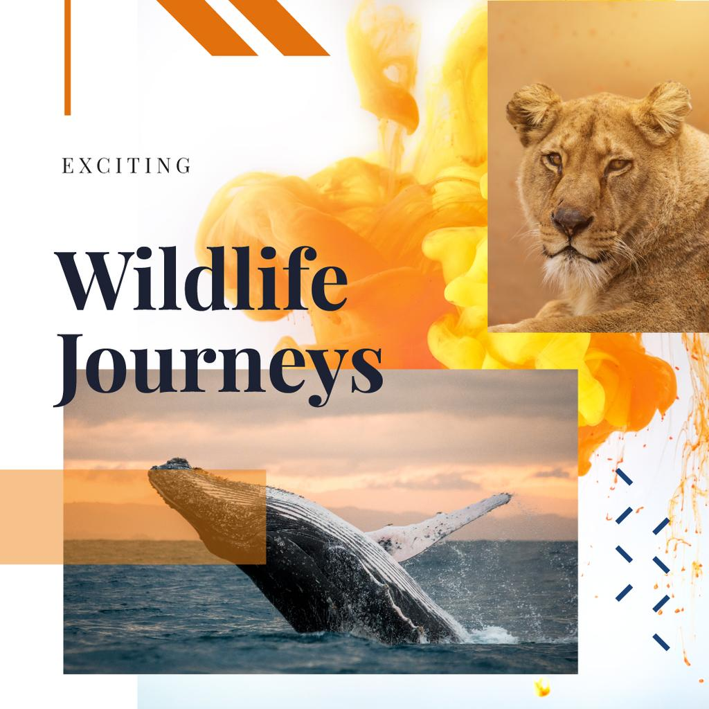 Lion and whale in natural habitat — Create a Design