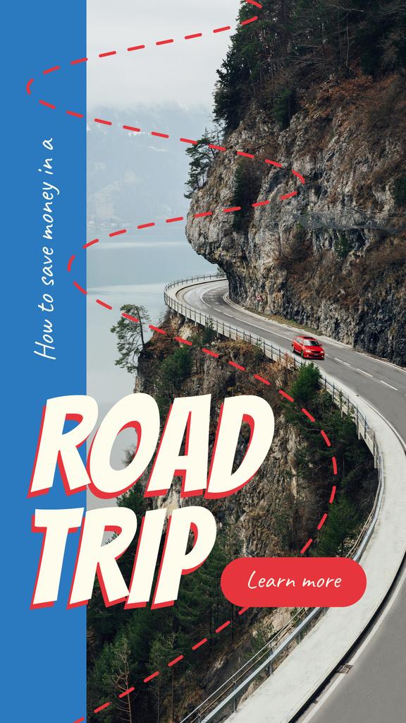 Red car on mountain road — Crear un diseño