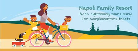 Plantilla de diseño de Family with pets on a bicycle ride Facebook Video cover