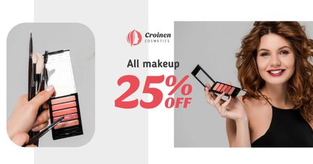 Plantilla de diseño de Cosmetics Sale with Beautician applying Makeup Facebook AD