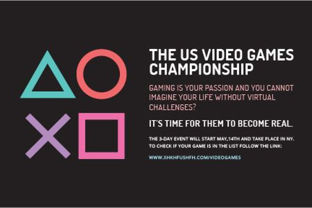 Template di design Video games Championship Gift Certificate