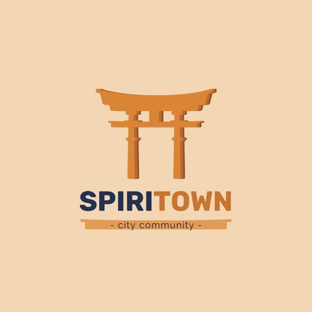 Ontwerpsjabloon van Logo van City Community with Torii Icon