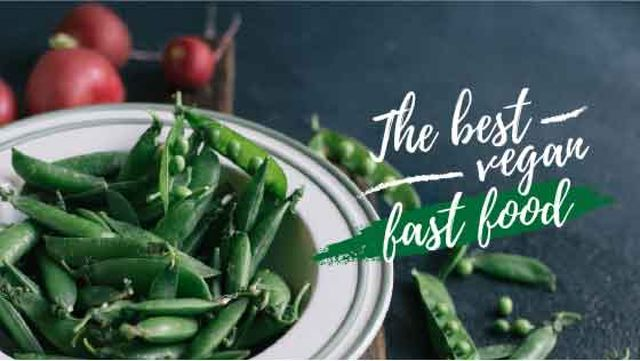 Vegan food green peas Title Design Template