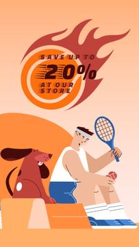 Sporting Goods Sale Tennis Player and Dog | Vertical Video Template