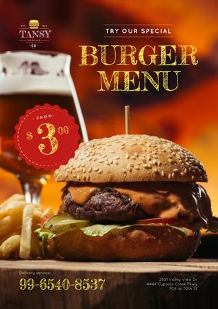 Fast Food Offer with Tasty Burger Poster Modelo de Design