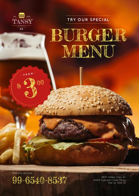 Plantilla de diseño de Fast Food Offer with Tasty Burger Poster