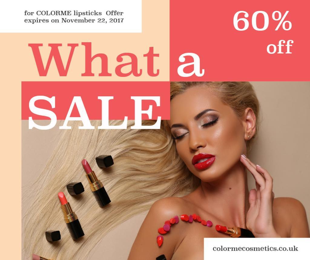 Cosmetics Sale Woman with Red Lipstick — Create a Design