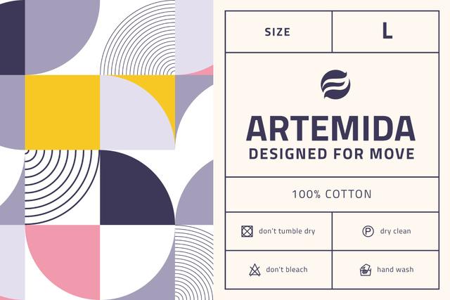 Plantilla de diseño de Clothing care info on colorful pattern Label