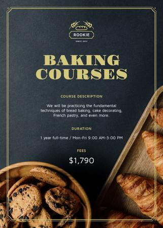 Baking Courses Ad Fresh Croissants and Cookies Flayerデザインテンプレート