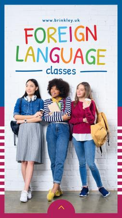 Designvorlage Language Classes Ad with Confident young girls für Instagram Story