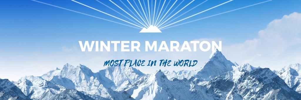 Winter Marathon Announcement Snowy Mountains — Modelo de projeto