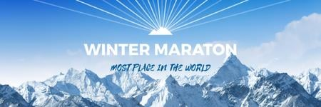 Ontwerpsjabloon van Twitter van Winter Marathon Announcement Snowy Mountains