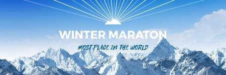 Winter Marathon Announcement Snowy Mountains Twitter Modelo de Design