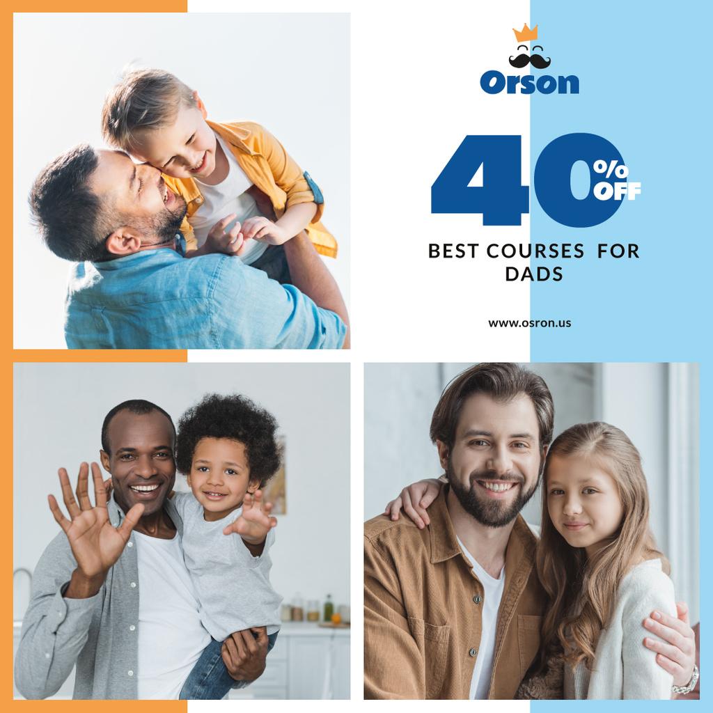 Plantilla de diseño de Parenthood Courses Ad Fathers with Their Children Instagram