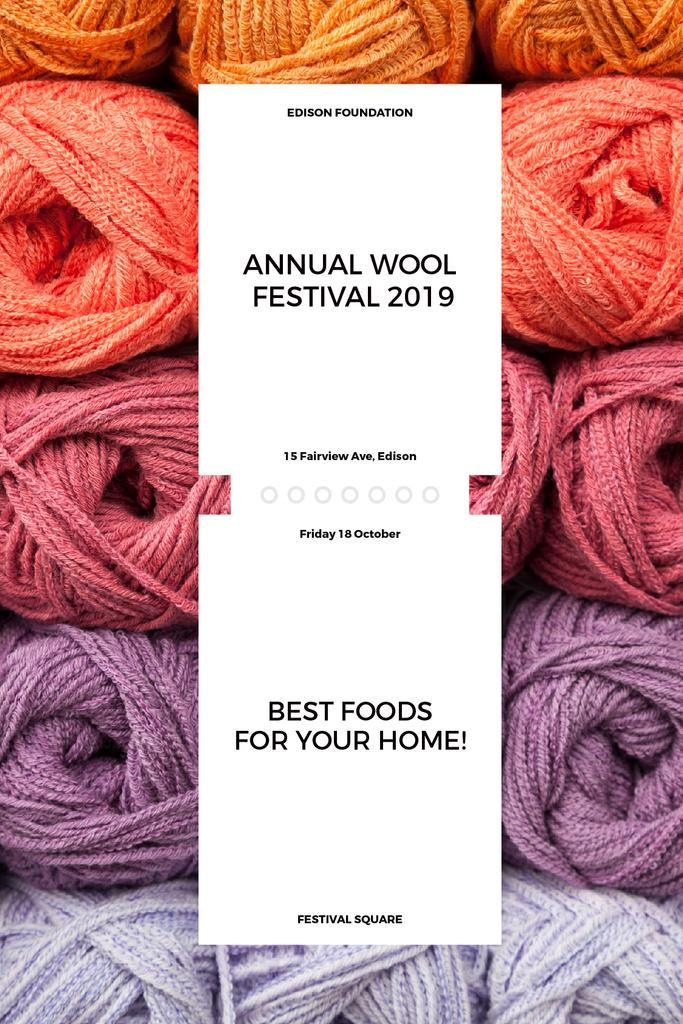 Knitting Festival Invitation Wool Yarn Skeins | Tumblr Graphics Template — Créer un visuel