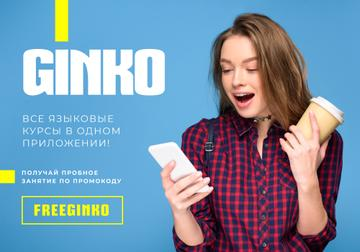 Online Courses ad with Girl holding Phone and coffee