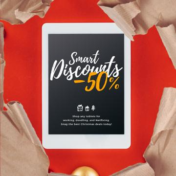 Christmas Discount Digital Tablet in Wrapping Paper | Square Video Template