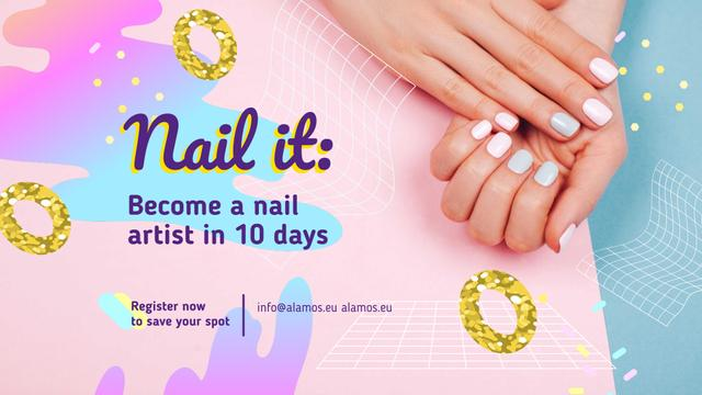 Template di design Hands with Pastel Nails in Manicure Salon FB event cover