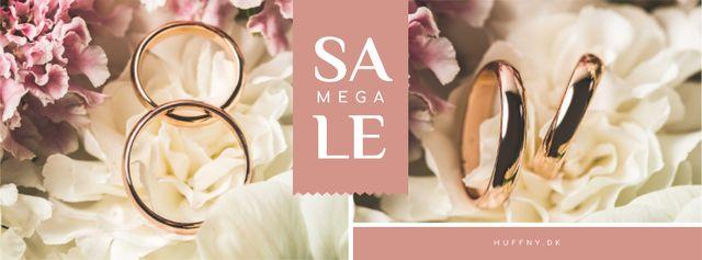 Ontwerpsjabloon van Facebook cover van Wedding Offer Rings on Flower