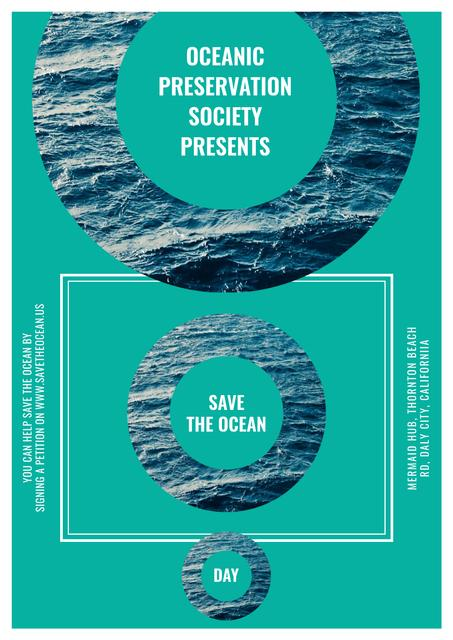 Save the ocean event Annoucement Poster Tasarım Şablonu
