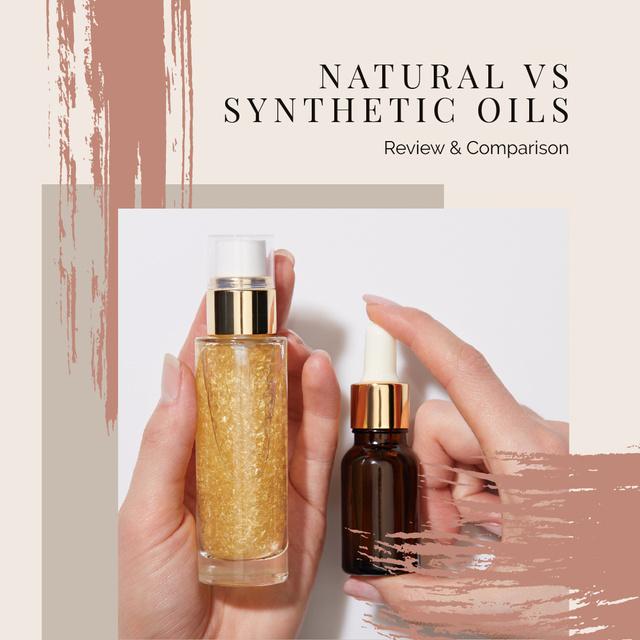 Ontwerpsjabloon van Instagram van Natural Synthetic Oils Offer in Pink