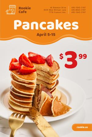 Plantilla de diseño de Cafe Promotion with Stack of Pancakes and Strawberries Pinterest