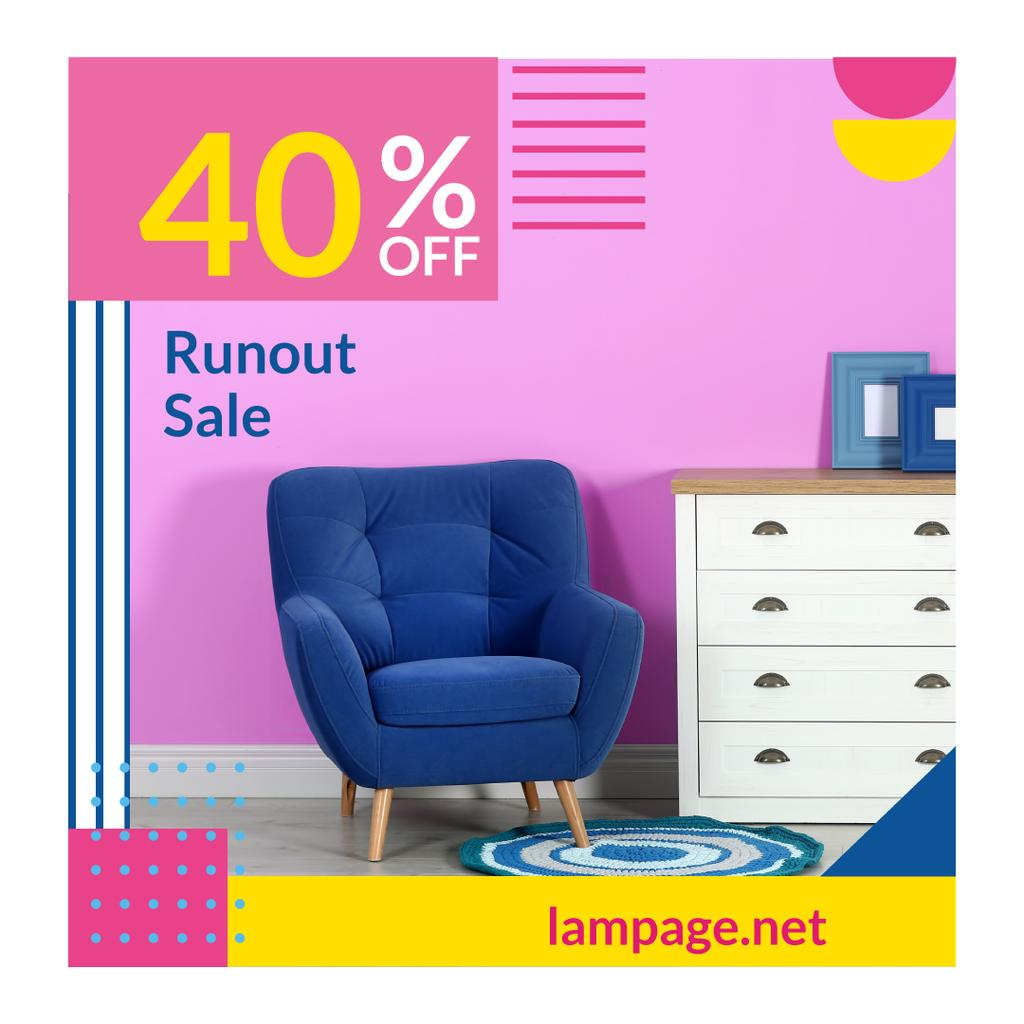 Furniture Sale with Armchair in Colorful Interior — Modelo de projeto