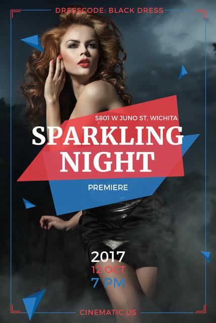 Night Party Invitation Woman in Black Dress Tumblr Modelo de Design