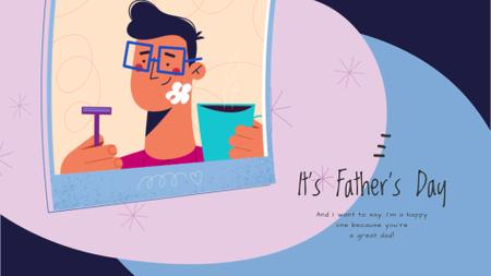 Dad with Kid shaving on Father's Day  Full HD video Modelo de Design