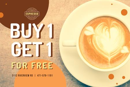 Designvorlage Discount Offer Cup with Latte Art für Gift Certificate