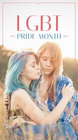 Designvorlage Pride Month with Two women hugging für Instagram Story