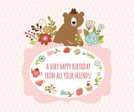 Happy birthday greeting with Bear and Flowers Facebook Modelo de Design