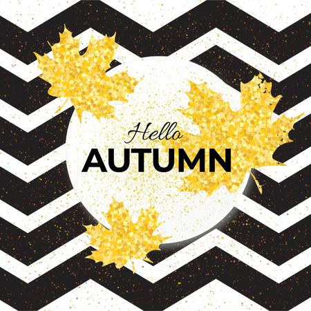 Zigzag pattern with falling leaves Animated Post Modelo de Design