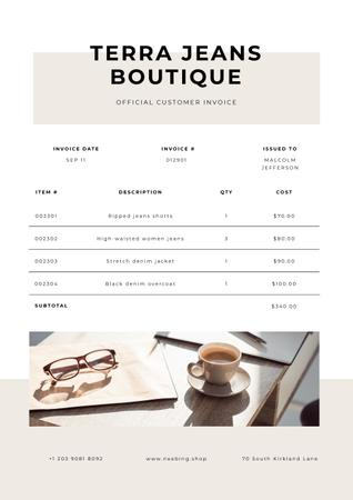 Modèle de visuel Fashion Boutique prices - Invoice