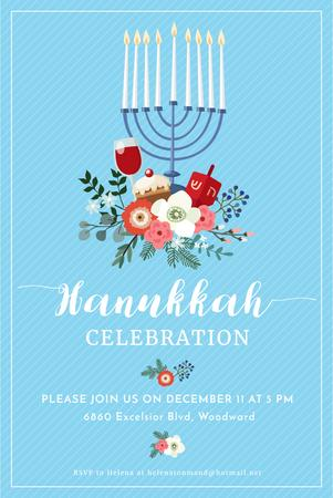 Hanukkah Celebration Invitation with Menorah on Blue Pinterest Modelo de Design